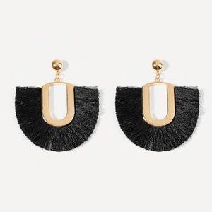 Modern Minimalist Gold and Black Tassel Earrings
